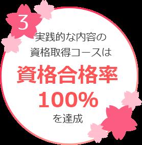 実践的な内容の資格取得コースは資格合格率100%を達成
